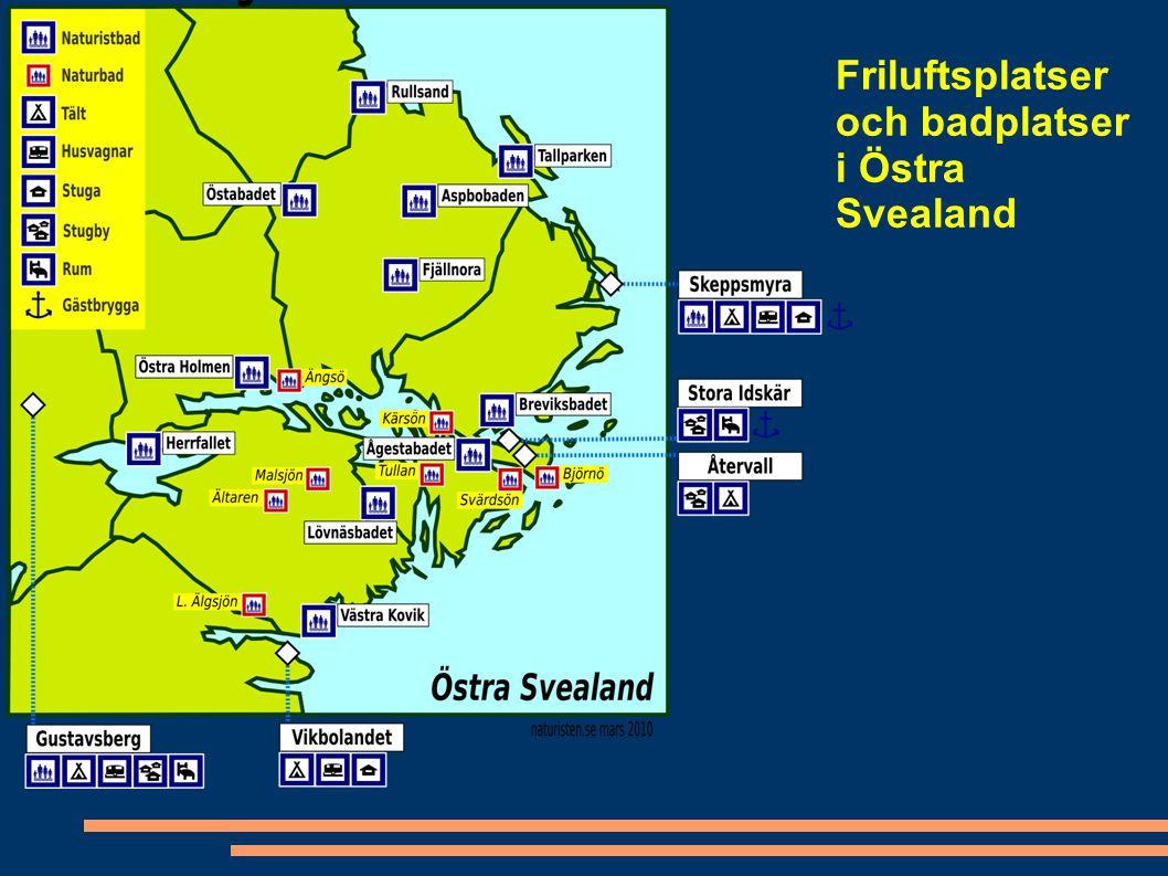 Friluftsplatser och badplatser i Östra Svealand