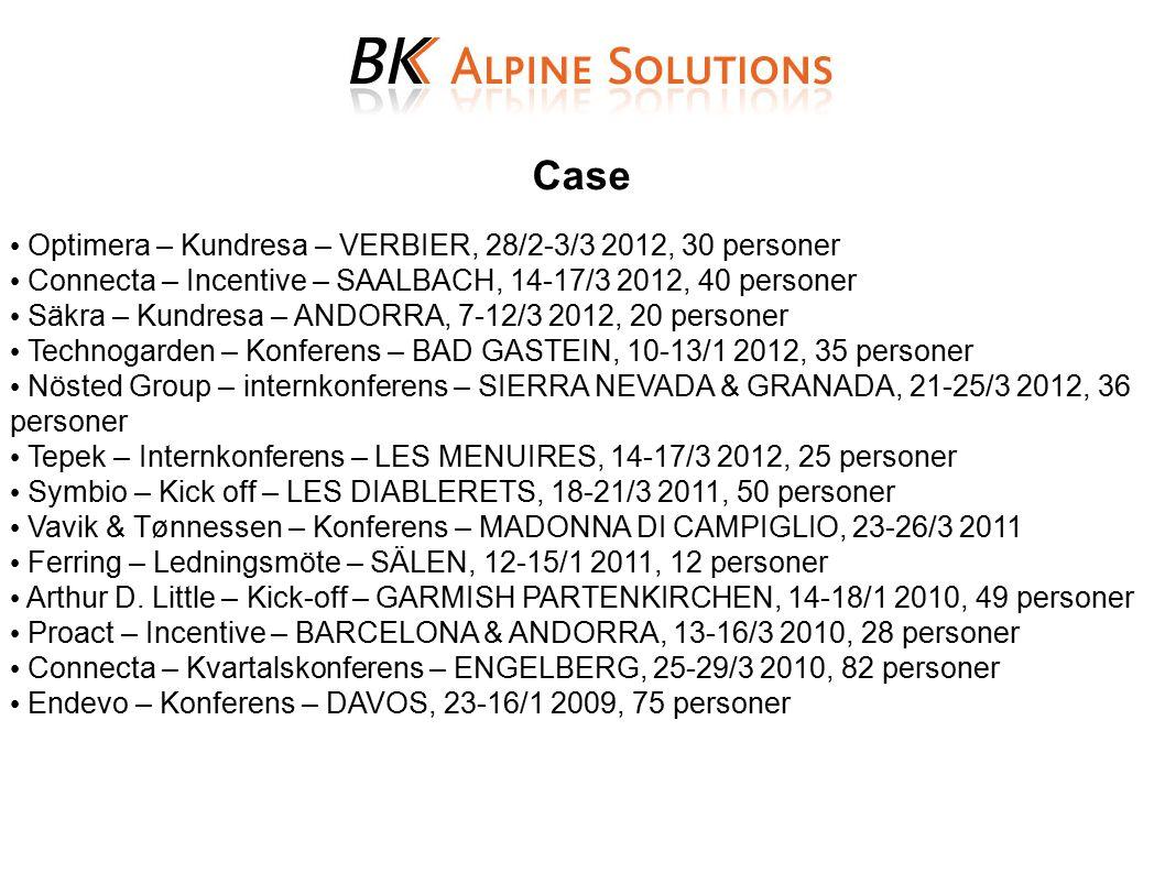 Case Optimera – Kundresa – VERBIER, 28/2-3/3 2012, 30 personer Connecta – Incentive – SAALBACH, 14-17/3 2012, 40 personer Säkra – Kundresa – ANDORRA,