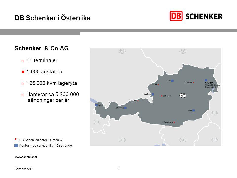 DB Schenker i Österrike Schenker & Co AG 11 terminaler 1 900 anställda 126 000 kvm lageryta Hanterar ca 5 200 000 sändningar per år DB Schenkerkontor