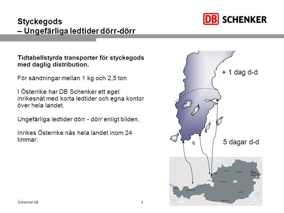 Styckegods – Ungefärliga ledtider dörr-dörr Tidtabellstyrda transporter för styckegods med daglig distribution. För sändningar mellan 1 kg och 2,5 ton
