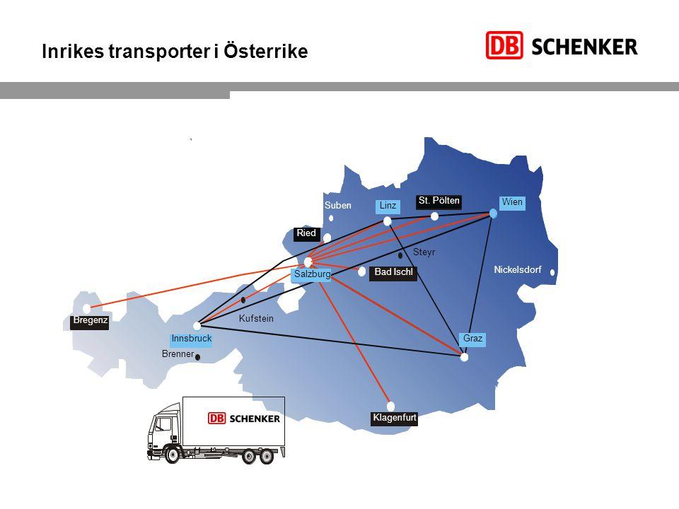 Inrikes transporter i Österrike Brenner Suben Steyr Nickelsdorf Kufstein Bad Ischl St. Pölten Innsbruck Bregenz Klagenfurt Linz Wien Ried Graz Salzbur