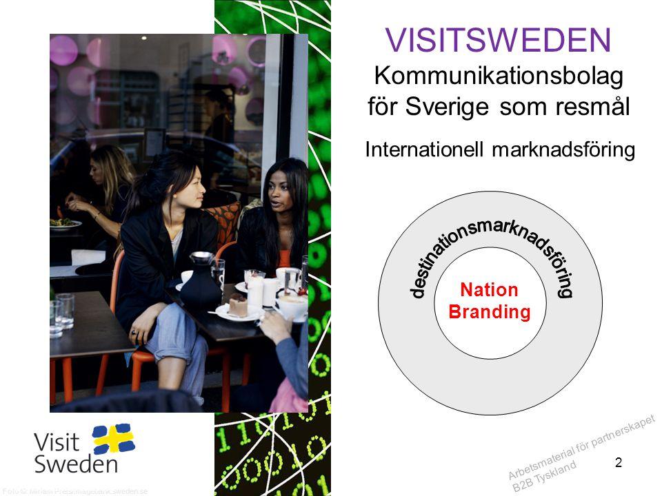 Arbetsmaterial för partnerskapet B2B Tyskland VISITSWEDEN Kommunikationsbolag för Sverige som resmål Internationell marknadsföring Nation Branding Fot