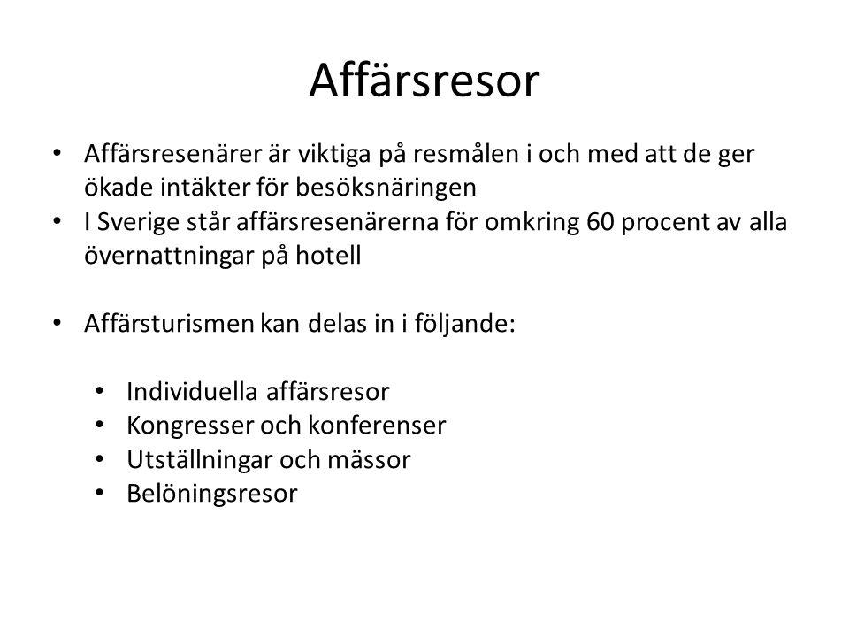 Affärsresor Affärsresenärer är viktiga på resmålen i och med att de ger ökade intäkter för besöksnäringen I Sverige står affärsresenärerna för omkring 60 procent av alla övernattningar på hotell Affärsturismen kan delas in i följande: Individuella affärsresor Kongresser och konferenser Utställningar och mässor Belöningsresor