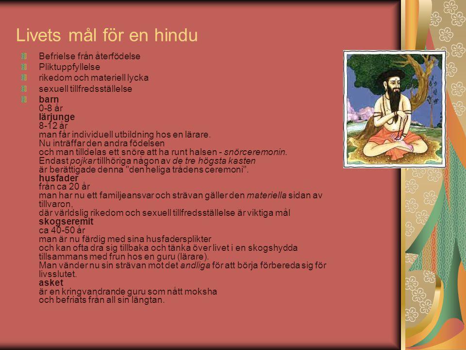 Livets mål för en hindu Befrielse från återfödelse Pliktuppfyllelse rikedom och materiell lycka sexuell tillfredsställelse barn 0-8 år lärjunge 8-12 å