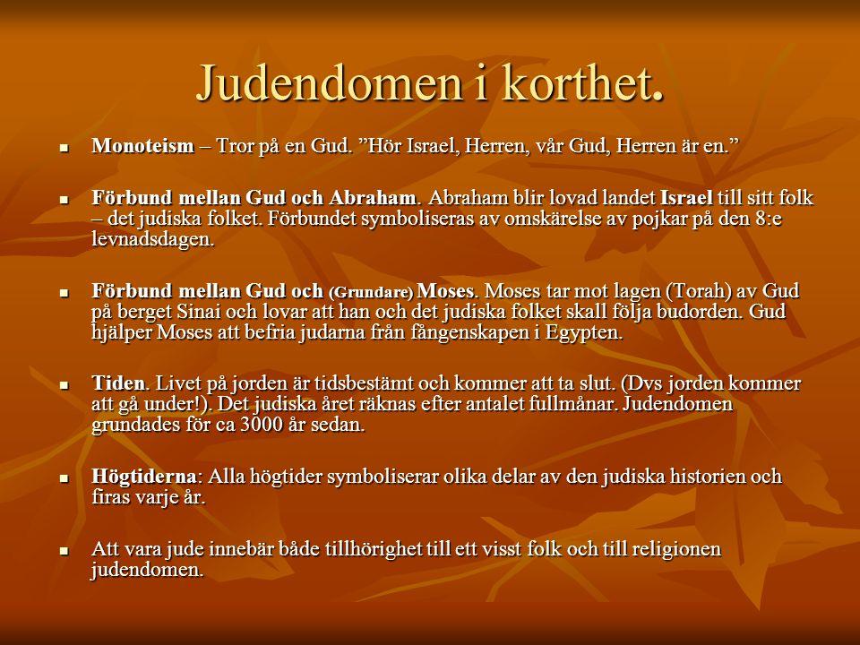 """Judendomen i korthet. Monoteism – Tror på en Gud. """"Hör Israel, Herren, vår Gud, Herren är en."""" Monoteism – Tror på en Gud. """"Hör Israel, Herren, vår Gu"""
