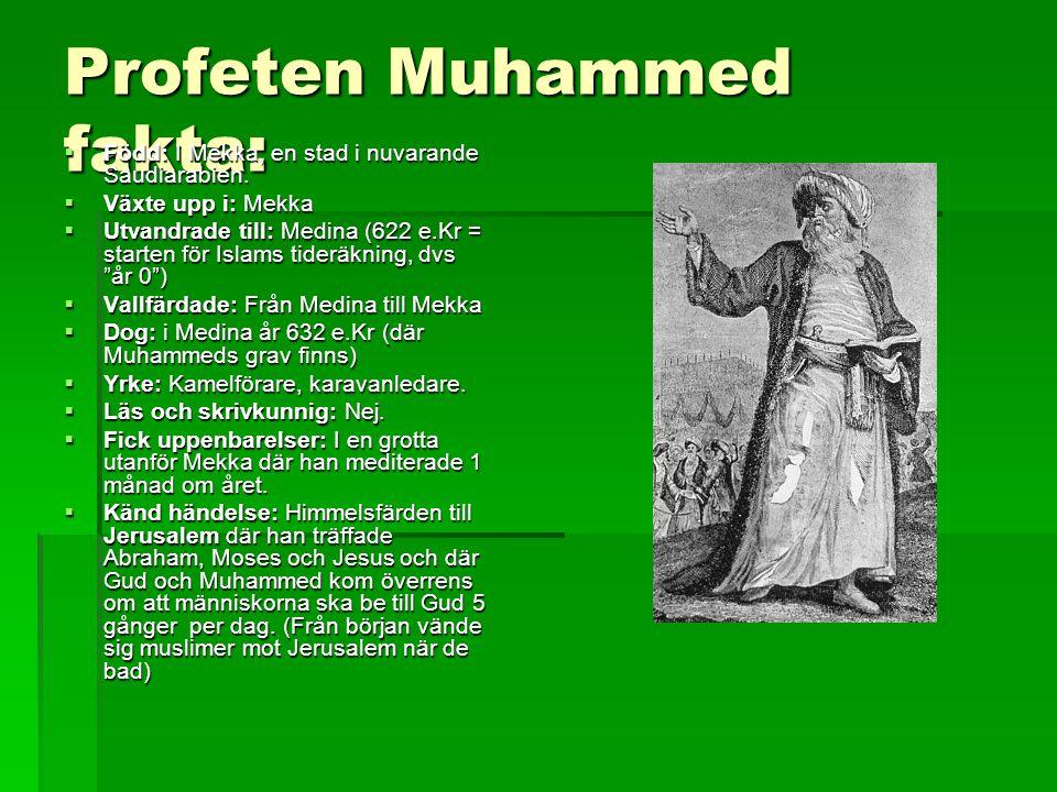 Profeten Muhammed fakta:  Född: I Mekka, en stad i nuvarande Saudiarabien.  Växte upp i: Mekka  Utvandrade till: Medina (622 e.Kr = starten för Isl