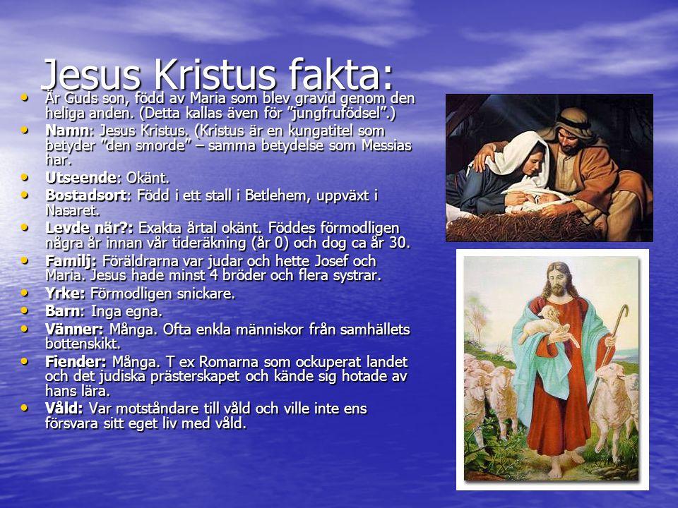 Jesus Kristus fakta: Är Guds son, född av Maria som blev gravid genom den heliga anden.