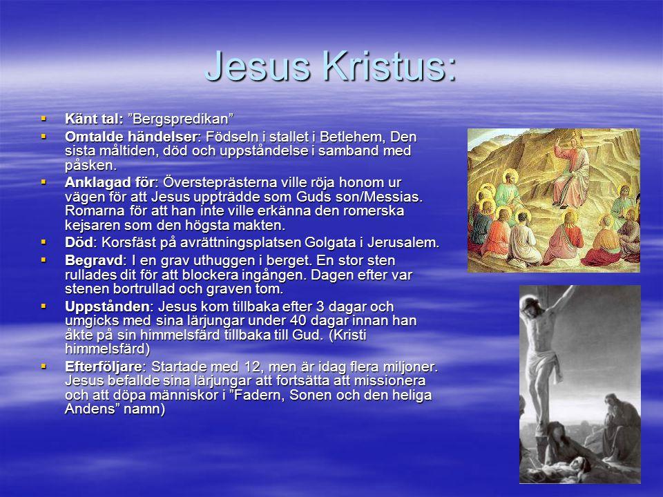 """Jesus Kristus:  Känt tal: """"Bergspredikan""""  Omtalde händelser: Födseln i stallet i Betlehem, Den sista måltiden, död och uppståndelse i samband med p"""