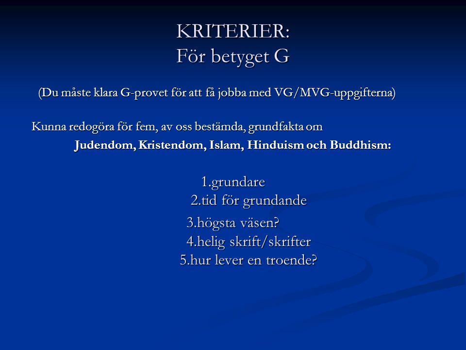 KRITERIER: För betyget G (Du måste klara G-provet för att få jobba med VG/MVG-uppgifterna) (Du måste klara G-provet för att få jobba med VG/MVG-uppgifterna) Kunna redogöra för fem, av oss bestämda, grundfakta om Kunna redogöra för fem, av oss bestämda, grundfakta om Judendom, Kristendom, Islam, Hinduism och Buddhism: 1.grundare 2.tid för grundande 3.högsta väsen.