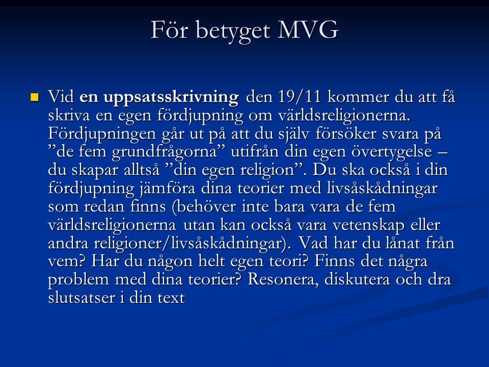 För betyget MVG Vid en uppsatsskrivning den 19/11 kommer du att få skriva en egen fördjupning om världsreligionerna.
