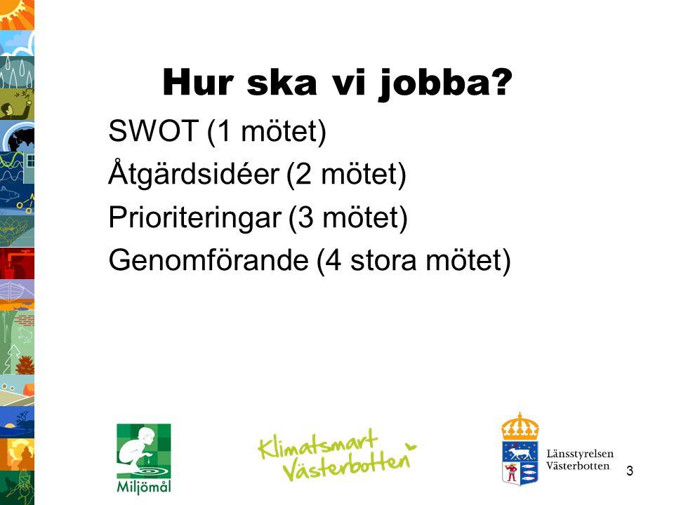 3 Hur ska vi jobba? SWOT (1 mötet) Åtgärdsidéer (2 mötet) Prioriteringar (3 mötet) Genomförande (4 stora mötet)