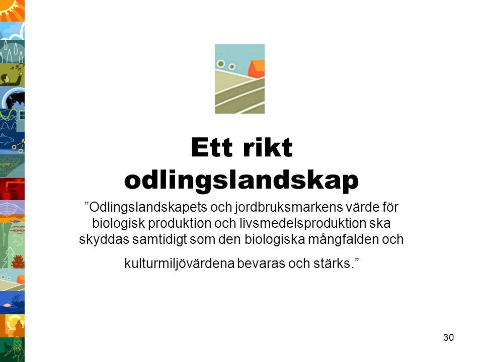 """30 Ett rikt odlingslandskap """"Odlingslandskapets och jordbruksmarkens värde för biologisk produktion och livsmedelsproduktion ska skyddas samtidigt som"""