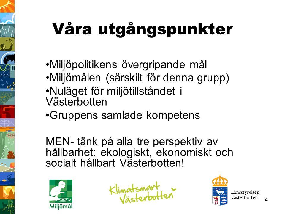 4 Våra utgångspunkter Miljöpolitikens övergripande mål Miljömålen (särskilt för denna grupp) Nuläget för miljötillståndet i Västerbotten Gruppens saml