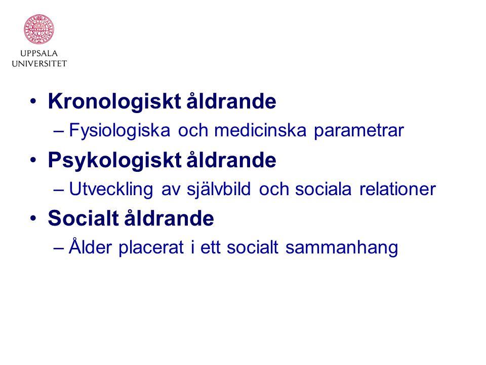 Kronologiskt åldrande –Fysiologiska och medicinska parametrar Psykologiskt åldrande –Utveckling av självbild och sociala relationer Socialt åldrande –Ålder placerat i ett socialt sammanhang