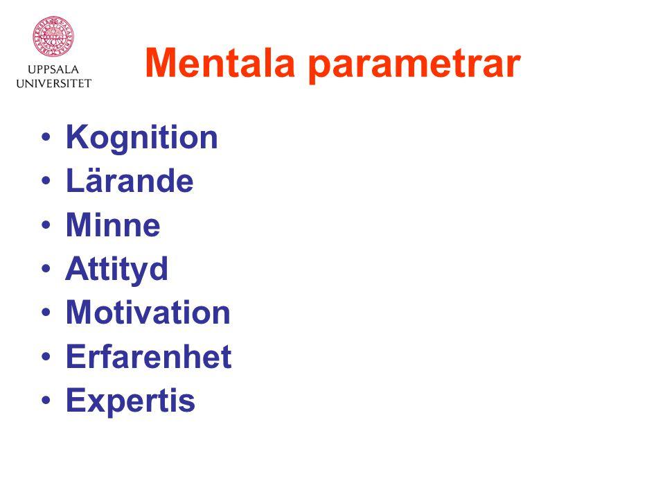 Mentala parametrar Kognition Lärande Minne Attityd Motivation Erfarenhet Expertis