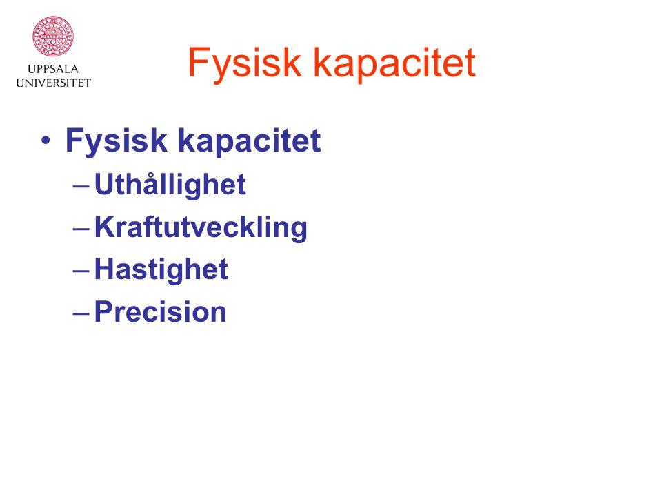 Fysisk kapacitet –Uthållighet –Kraftutveckling –Hastighet –Precision