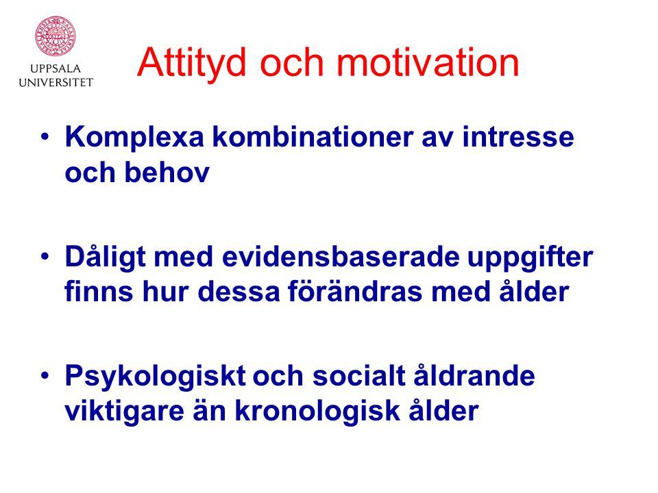 Attityd och motivation Komplexa kombinationer av intresse och behov Dåligt med evidensbaserade uppgifter finns hur dessa förändras med ålder Psykologiskt och socialt åldrande viktigare än kronologisk ålder