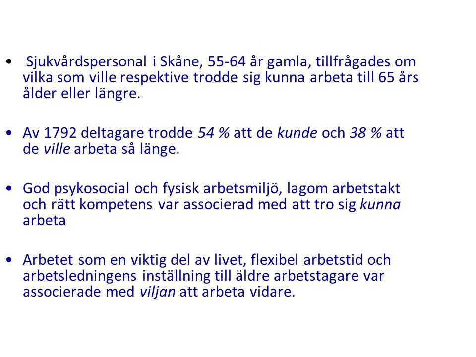 Sjukvårdspersonal i Skåne, 55-64 år gamla, tillfrågades om vilka som ville respektive trodde sig kunna arbeta till 65 års ålder eller längre. Av 1792