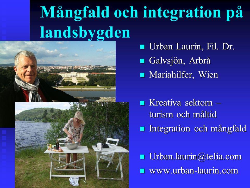 Mångfald och integration på landsbygden n-n-n-n- n Urban Laurin, Fil. Dr. n Galvsjön, Arbrå n Mariahilfer, Wien n Kreativa sektorn – turism och måltid