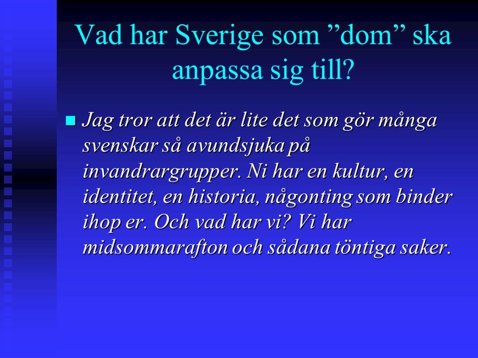 """Vad har Sverige som """"dom"""" ska anpassa sig till? n Jag tror att det är lite det som gör många svenskar så avundsjuka på invandrargrupper. Ni har en kul"""