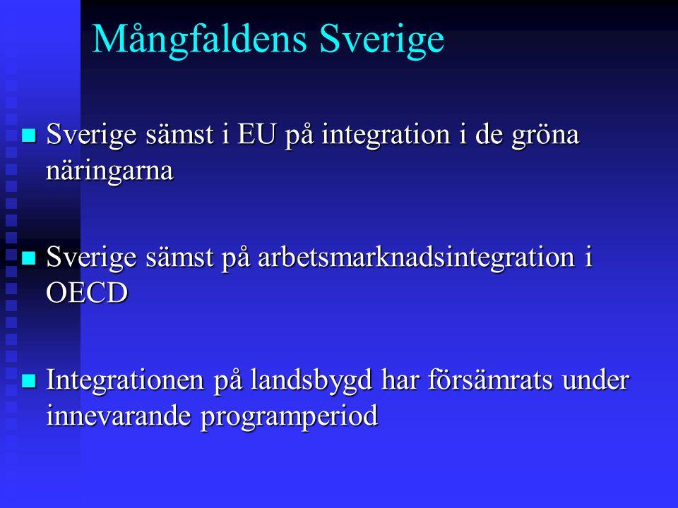 Mångfaldens Sverige n Sverige sämst i EU på integration i de gröna näringarna n Sverige sämst på arbetsmarknadsintegration i OECD n Integrationen på l