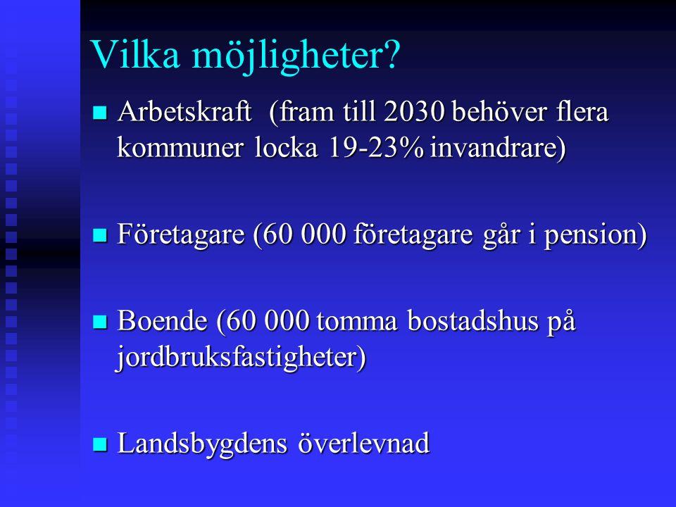 Vilka möjligheter? n Arbetskraft (fram till 2030 behöver flera kommuner locka 19-23% invandrare) n Företagare (60 000 företagare går i pension) n Boen