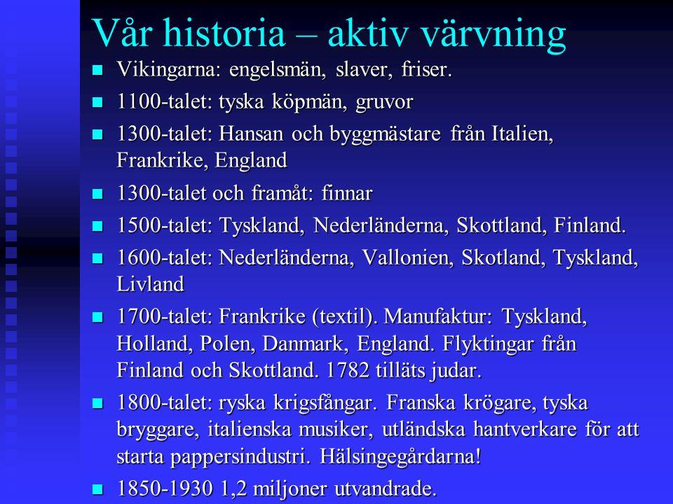 Vår historia – aktiv värvning n Vikingarna: engelsmän, slaver, friser. n 1100-talet: tyska köpmän, gruvor n 1300-talet: Hansan och byggmästare från It