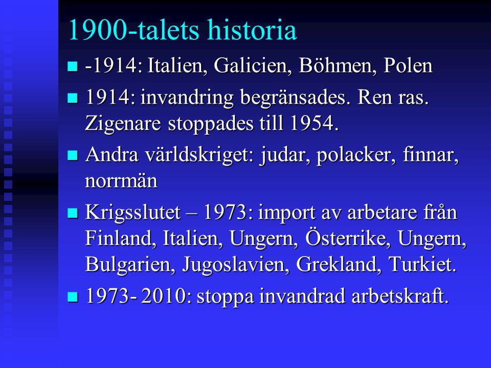 1900-talets historia n -1914: Italien, Galicien, Böhmen, Polen n 1914: invandring begränsades. Ren ras. Zigenare stoppades till 1954. n Andra världskr