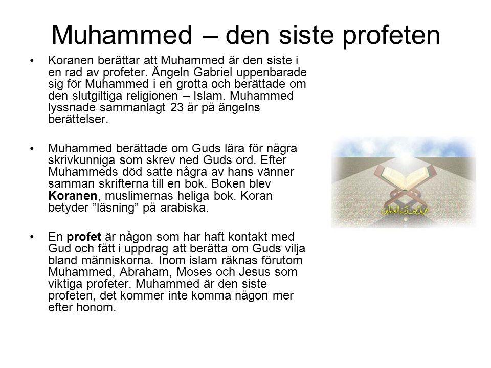 Muhammed – den siste profeten Koranen berättar att Muhammed är den siste i en rad av profeter. Ängeln Gabriel uppenbarade sig för Muhammed i en grotta