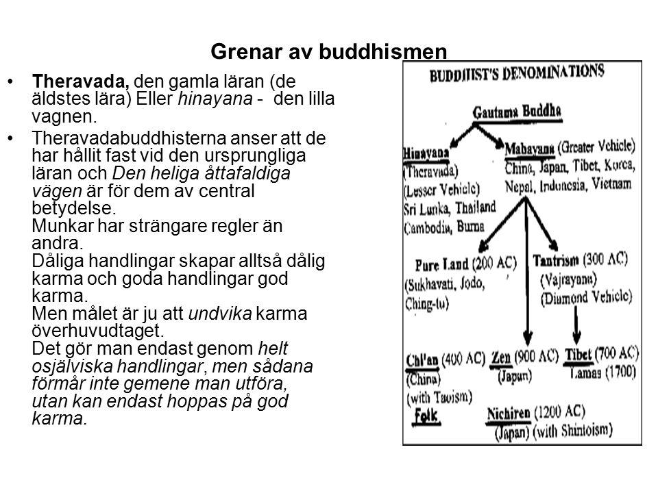 Theravada, den gamla läran (de äldstes lära) Eller hinayana - den lilla vagnen. Theravadabuddhisterna anser att de har hållit fast vid den ursprunglig