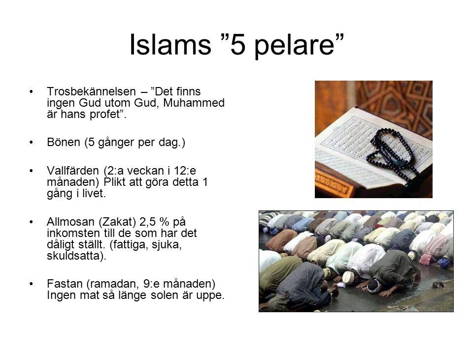 """Islams """"5 pelare"""" Trosbekännelsen – """"Det finns ingen Gud utom Gud, Muhammed är hans profet"""". Bönen (5 gånger per dag.) Vallfärden (2:a veckan i 12:e m"""