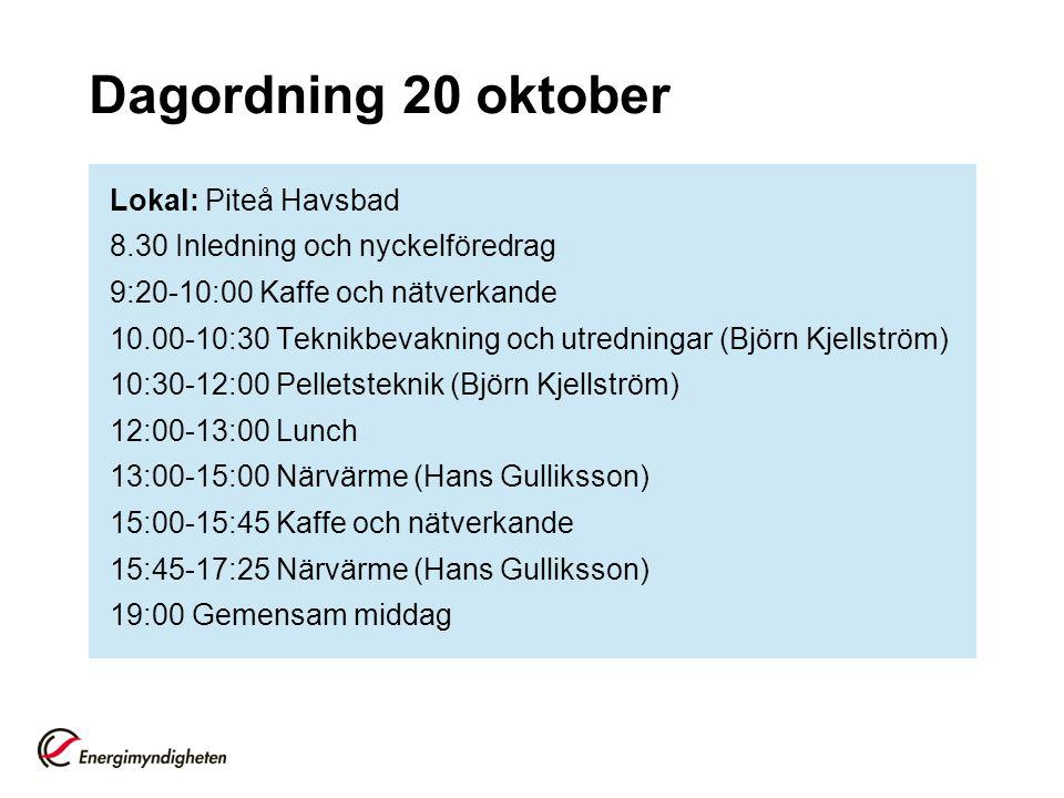 Dagordning 20 oktober Lokal: Piteå Havsbad 8.30 Inledning och nyckelföredrag 9:20-10:00 Kaffe och nätverkande 10.00-10:30 Teknikbevakning och utredningar (Björn Kjellström) 10:30-12:00 Pelletsteknik (Björn Kjellström) 12:00-13:00 Lunch 13:00-15:00 Närvärme (Hans Gulliksson) 15:00-15:45 Kaffe och nätverkande 15:45-17:25 Närvärme (Hans Gulliksson) 19:00 Gemensam middag