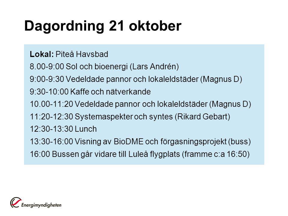 Dagordning 21 oktober Lokal: Piteå Havsbad 8.00-9:00 Sol och bioenergi (Lars Andrén) 9:00-9:30 Vedeldade pannor och lokaleldstäder (Magnus D) 9:30-10:00 Kaffe och nätverkande 10.00-11:20 Vedeldade pannor och lokaleldstäder (Magnus D) 11:20-12:30 Systemaspekter och syntes (Rikard Gebart) 12:30-13:30 Lunch 13:30-16:00 Visning av BioDME och förgasningsprojekt (buss) 16:00 Bussen går vidare till Luleå flygplats (framme c:a 16:50)