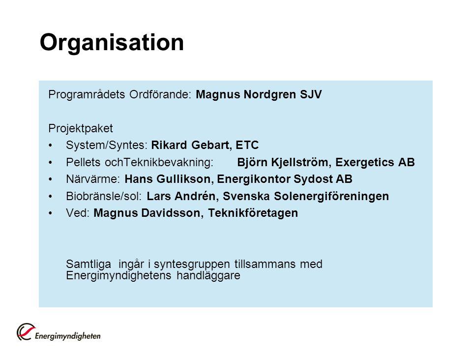 Organisation Programrådets Ordförande: Magnus Nordgren SJV Projektpaket System/Syntes: Rikard Gebart, ETC Pellets ochTeknikbevakning: Björn Kjellström