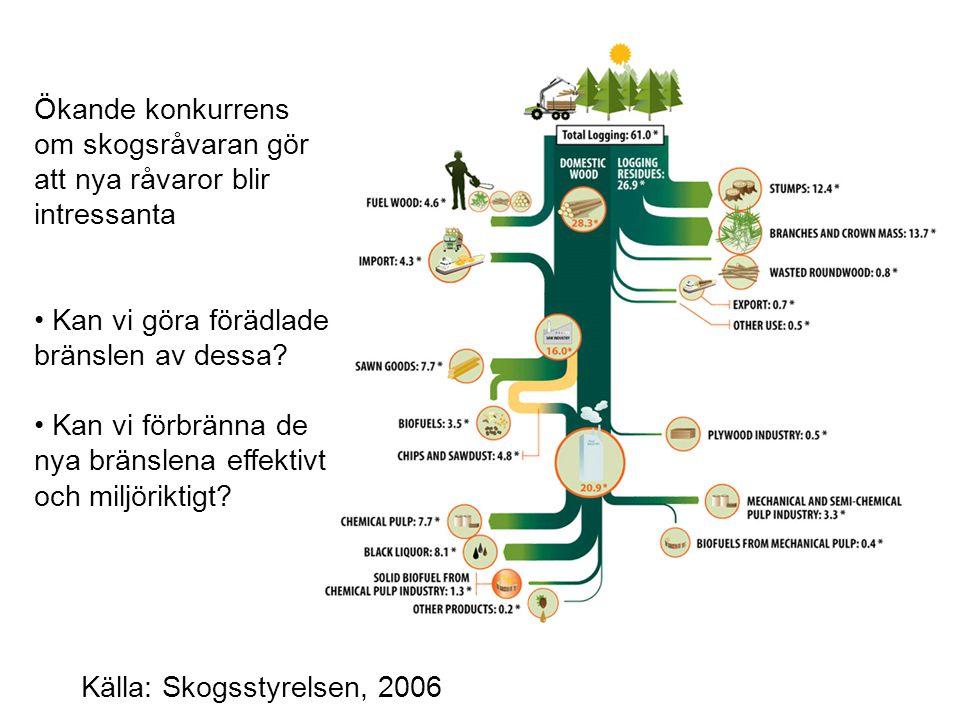 Källa: Skogsstyrelsen, 2006 Ökande konkurrens om skogsråvaran gör att nya råvaror blir intressanta Kan vi göra förädlade bränslen av dessa.