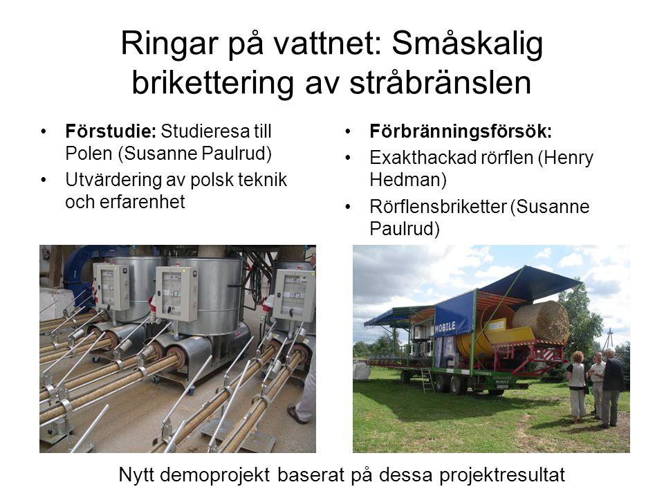Ringar på vattnet: Småskalig brikettering av stråbränslen Förstudie: Studieresa till Polen (Susanne Paulrud) Utvärdering av polsk teknik och erfarenhe