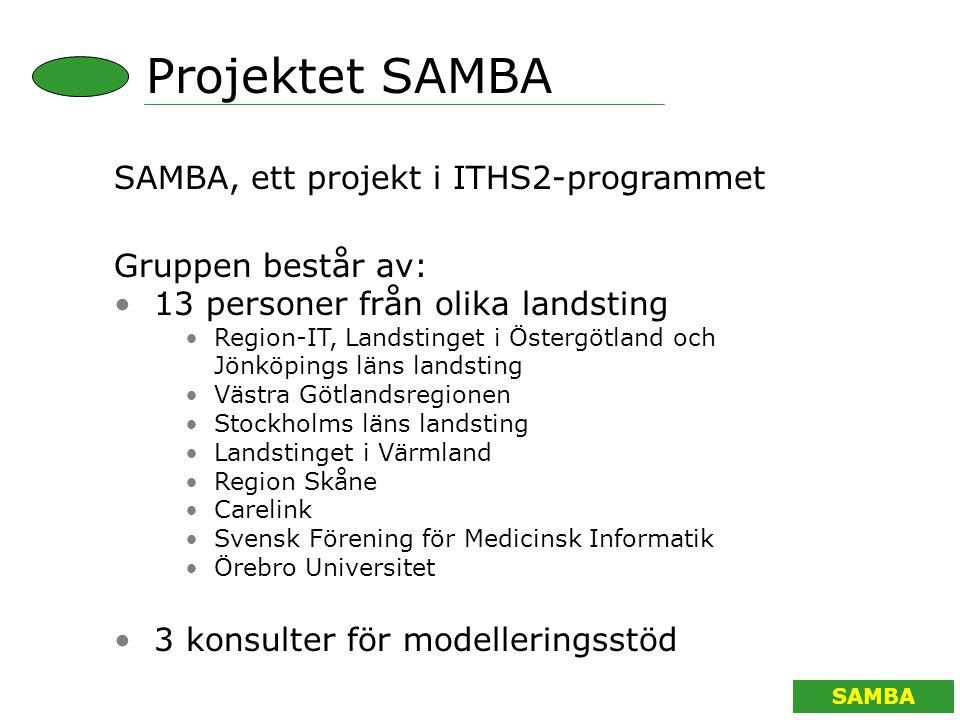 SAMBA ARBETSMATERIAL Vård av enskild patient SAMBA Processmodell Arbetsmaterial Resurslager Personal Ekonomi Kunskap Vårddok.