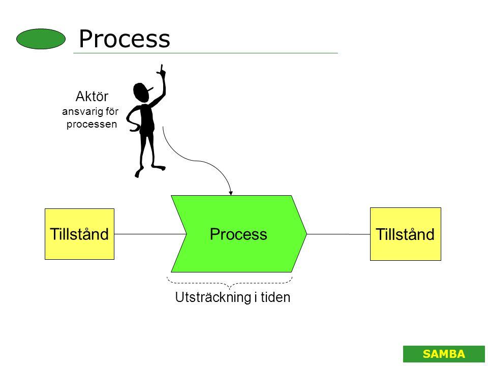 SAMBA Process Tillstånd Aktör ansvarig för processen Tillstånd Utsträckning i tiden