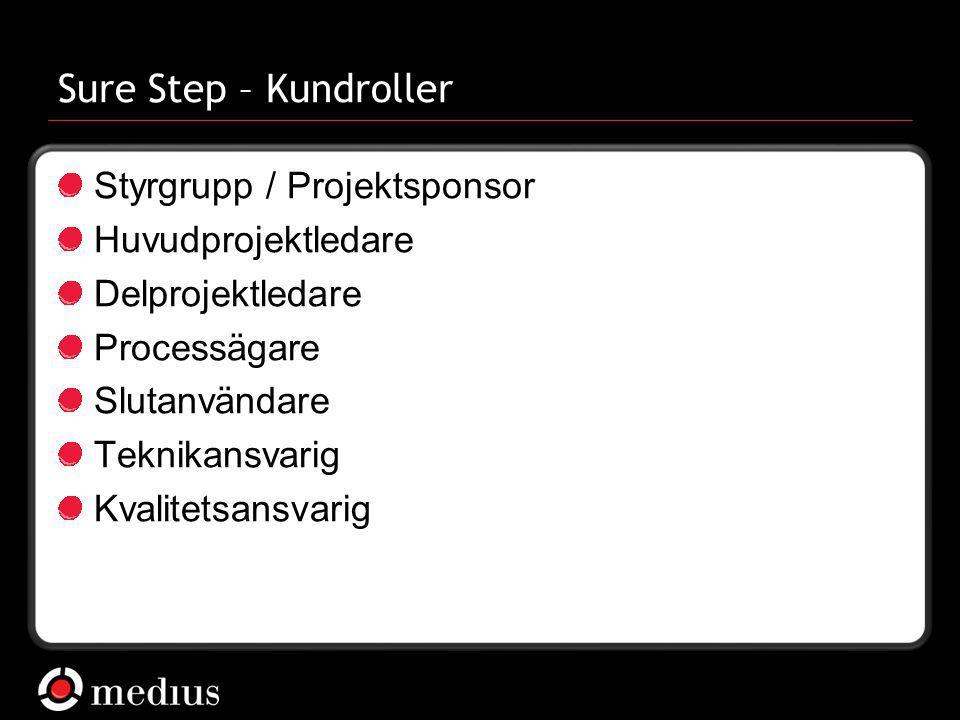  Medius AB Sure Step – Kundroller Styrgrupp / Projektsponsor Huvudprojektledare Delprojektledare Processägare Slutanvändare Teknikansvarig Kvalitetsa