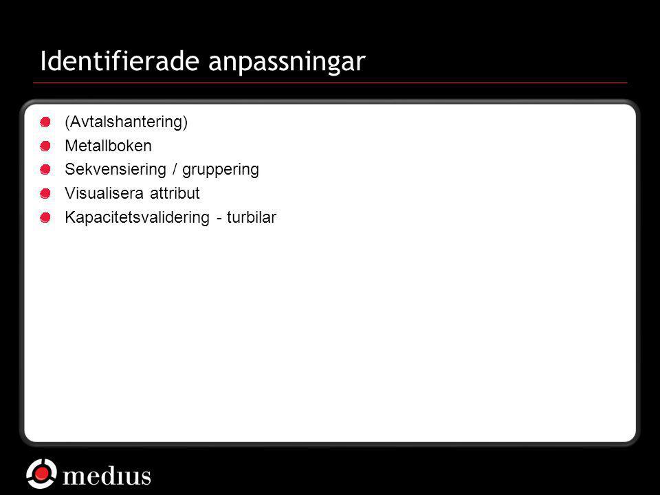  Medius AB Identifierade anpassningar (Avtalshantering) Metallboken Sekvensiering / gruppering Visualisera attribut Kapacitetsvalidering - turbilar