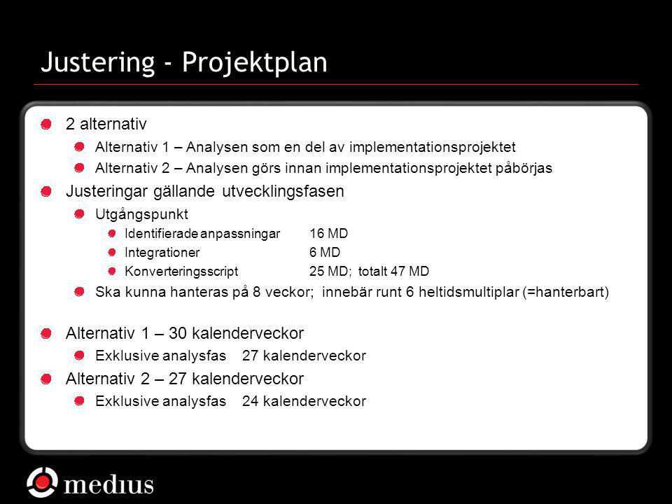  Medius AB Justering - Projektplan 2 alternativ Alternativ 1 – Analysen som en del av implementationsprojektet Alternativ 2 – Analysen görs innan imp