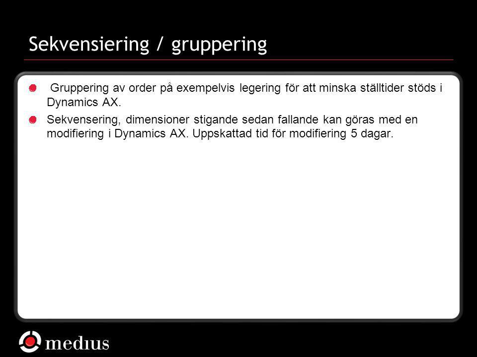  Medius AB Sekvensiering / gruppering Gruppering av order på exempelvis legering för att minska ställtider stöds i Dynamics AX. Sekvensering, dimensi