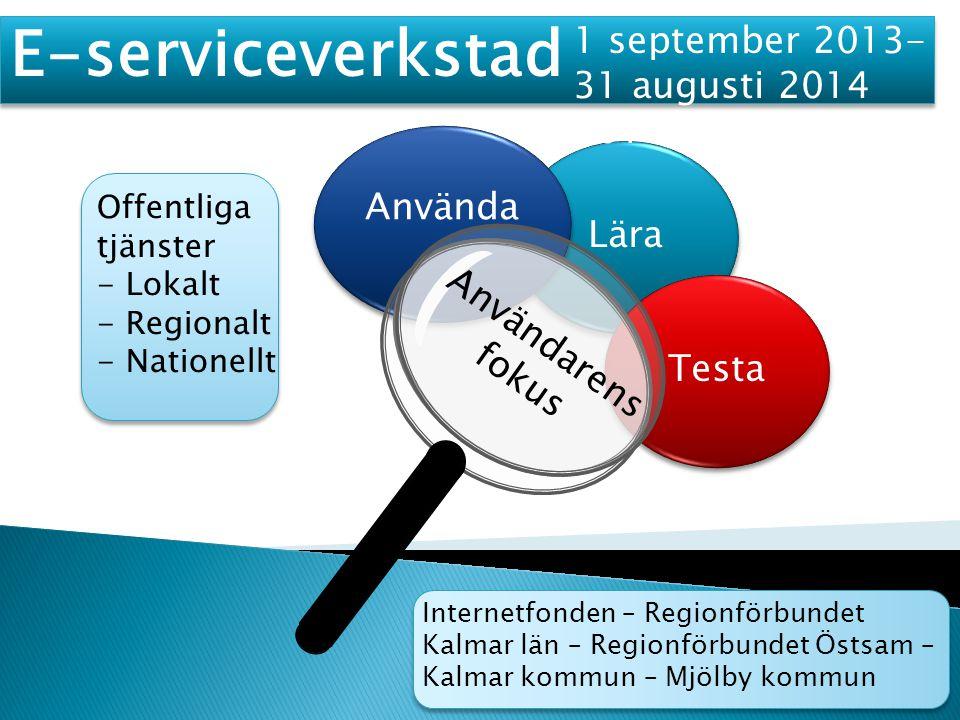  arbetsformer ska ha utvecklats för E- serviceverkstäder i Kalmar och Mjölby kommun  kommunernas förutsättningar för att utveckla E- serviceverkstäder ska vara dokumenterade  resultatet i form av kunskaper och erfarenheter sprids på väsentliga nivåer lokalt, regional och nationellt  kommuner i Östergötland och Kalmar län har haft möjlighet att följa projektet och implementera idéer  de båda regionförbunden har haft möjlighet att integrera erfarenheter från projektet i pågående regionalt utvecklingsarbete