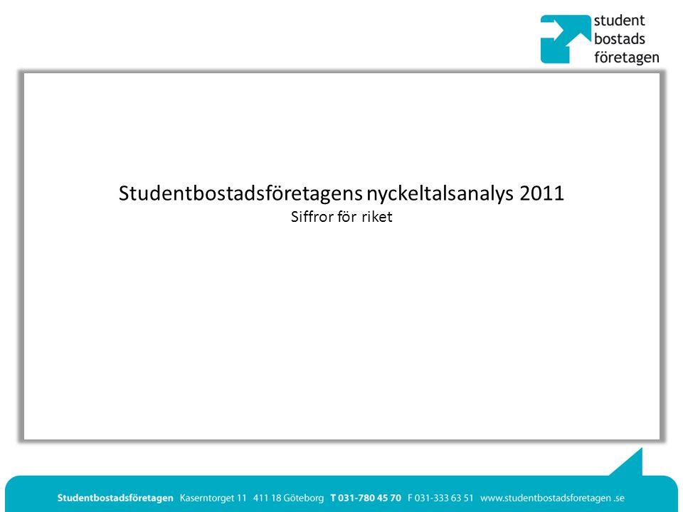 Studentbostadsföretagens nyckeltalsanalys 2011 Siffror för riket