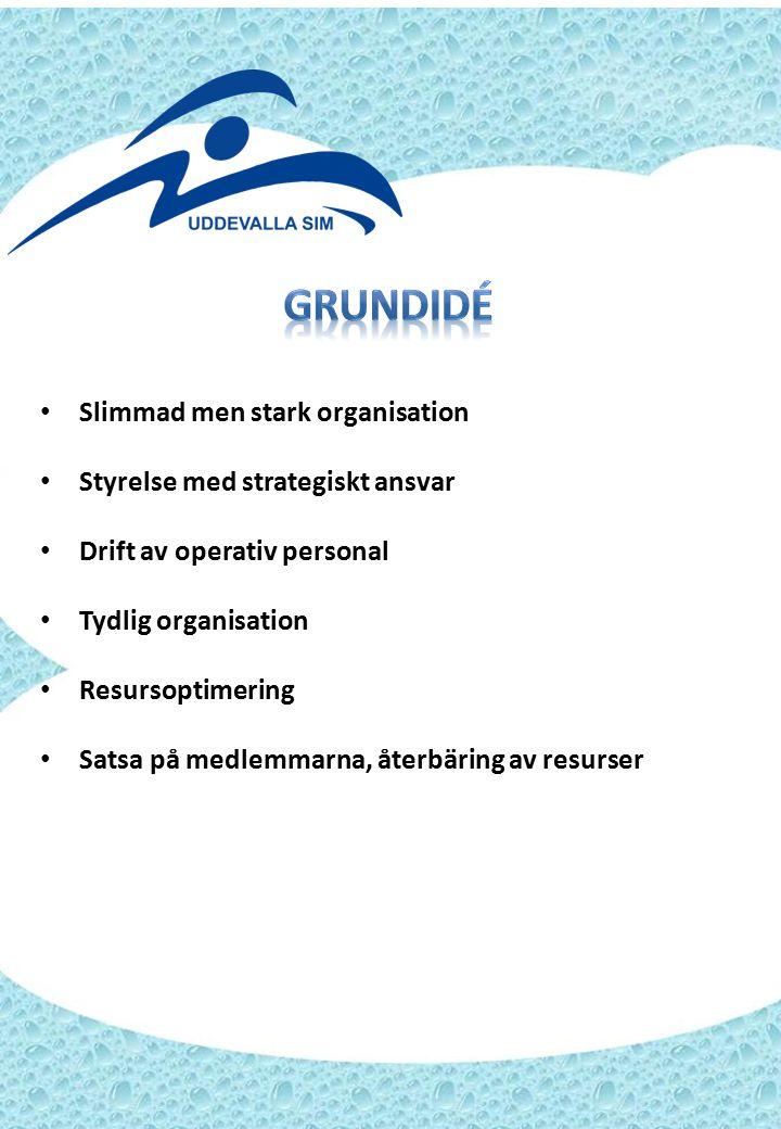 Slimmad men stark organisation Styrelse med strategiskt ansvar Drift av operativ personal Tydlig organisation Resursoptimering Satsa på medlemmarna, återbäring av resurser
