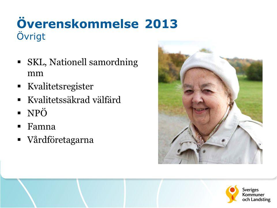 Överenskommelse 2013 Övrigt  SKL, Nationell samordning mm  Kvalitetsregister  Kvalitetssäkrad välfärd  NPÖ  Famna  Vårdföretagarna