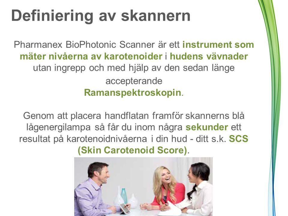 Definiering av skannern Pharmanex BioPhotonic Scanner är ett instrument som mäter nivåerna av karotenoider i hudens vävnader utan ingrepp och med hjäl