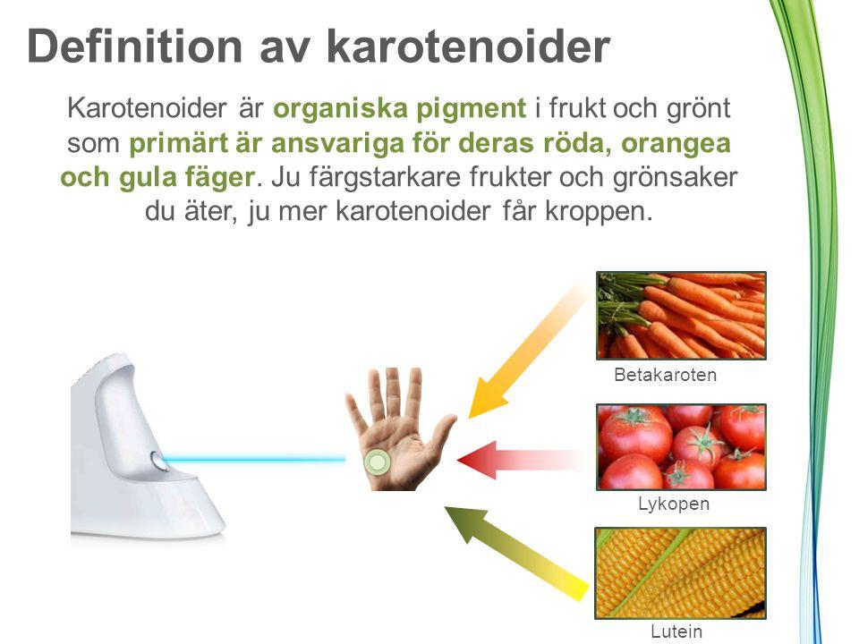Definition av karotenoider Karotenoider är organiska pigment i frukt och grönt som primärt är ansvariga för deras röda, orangea och gula fäger. Ju fär