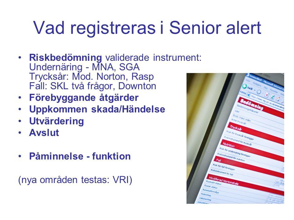 Vad registreras i Senior alert Riskbedömning validerade instrument: Undernäring - MNA, SGA Trycksår: Mod. Norton, Rasp Fall: SKL två frågor, Downton F