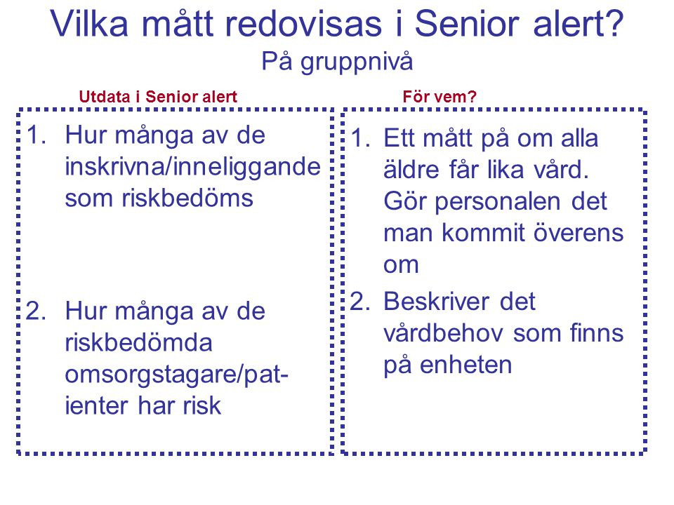 Vilka mått redovisas i Senior alert? På gruppnivå 1.Hur många av de inskrivna/inneliggande som riskbedöms 2.Hur många av de riskbedömda omsorgstagare/